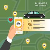 Male hand holding phone with taxi hire service application. Vector modern flat creative infographics design on public taxi service application featuring  modern Royalty Free Stock Image