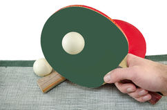 Male hand holding a ping pong racket, isolated Stock Photo
