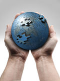 Male hand holding the planet Royalty Free Stock Photography
