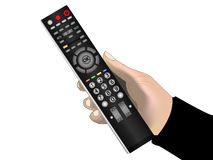 Male hand holding a remote control Royalty Free Stock Photos