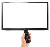 Male hand holding remote control to the TV screen isolated on white Stock Photos