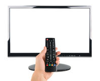 Male hand holding remote control to the TV screen isolated on white Royalty Free Stock Images