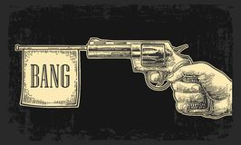 Male hand holding revolver with bang flag . Vector engraving vintage illustrations. Stock Photos