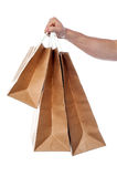 Male hand holding shopping bags Stock Images