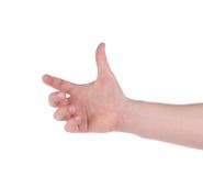 Male hand holding something. Royalty Free Stock Image