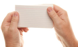 Male Hand Holding Stack of Flash Cards Stock Image