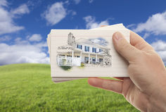 Male Hand Holding Stack of Flash Cards Royalty Free Stock Images