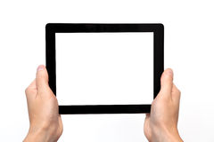 Male hand holding a tablet Stock Images