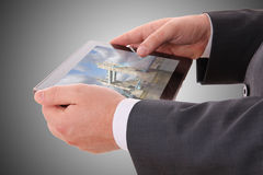 Male hand holding a tablet royalty free stock photos