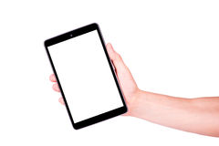 Male hand holding a tablet PC with space for you text. Isolated on white Royalty Free Stock Image