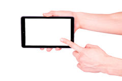 Male hand holding a tablet PC with space for you text. Isolated on white Stock Photos
