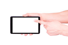 Male hand holding a tablet PC with space for you text Stock Photos