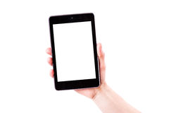 Male hand holding a tablet PC with space for you text. Isolated on white Royalty Free Stock Photo