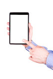 Male hand holding a tablet PC with space for you text. Isolated on white Royalty Free Stock Images