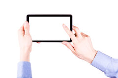 Male hand holding a tablet PC with space for you text. Isolated on white Royalty Free Stock Photography
