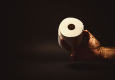 Male Hand Holding a Toilet Paper. Conceptual composition, man's hand holding or giving a roll of toilet paper Royalty Free Stock Image
