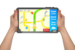 A male hand holding a touchpad gps tablet Stock Image