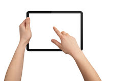 A male hand holding a touchpad pc Royalty Free Stock Images