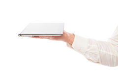 Male hand holding touchpad pc isolated Royalty Free Stock Images