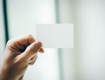 Male hand holding white business card on the royalty free stock image