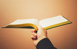 Male hand holds open book, vintage toned Stock Image