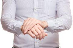 Male hand hurts wrist arm Royalty Free Stock Images