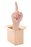 Male hand with idea gesture inside cardboard box isolated on whi Stock Photos