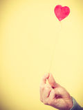 Male hand with little heart on stick. Royalty Free Stock Images