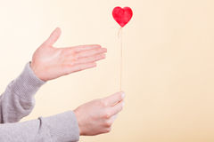 Male hand with little heart on stick. Royalty Free Stock Photos