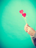 Male hand with little hearts on sticks. Royalty Free Stock Photo