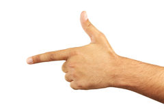 Male hand making a gun gesture, close up Royalty Free Stock Photography
