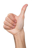 Male hand making thumb up gesture isolated on white. Close-up of positive sign, like, agreement concept Royalty Free Stock Photos