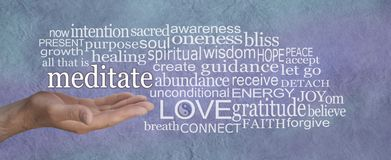 Meditate and reap the benefits word cloud stock photo