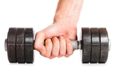 Male hand with metal barbell Royalty Free Stock Photography