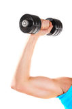 Male hand with metal barbell royalty free stock images