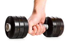 Male hand with metal barbell Royalty Free Stock Image