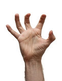 Male hand over white. Male hand on white background royalty free stock photo