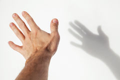 Male hand over white wall background. With soft shadow, closeup photo with selective focus Stock Images