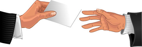 Male hand pass white business card to other hand Stock Images