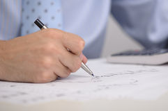 Male hand with pen Royalty Free Stock Photography