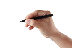 Male hand with pen isolated Royalty Free Stock Photos