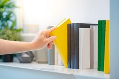 Male hand picking yellow book on white bookshelf. Male hand choosing and picking white book on white bookshelf in public library, education research and self Stock Photo