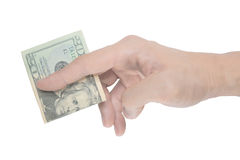 Male hand pinching dollar note Stock Images