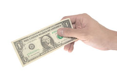 Male hand pinching dollar note Stock Photography