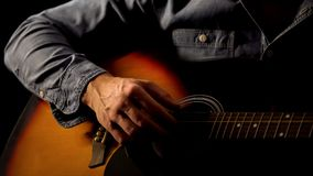 Free Male Hand Playing Acoustic Guitar Close Up, Street Artist Earning For Living Royalty Free Stock Photo - 156667135