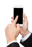 Male hand point on blank mobile phone screen Royalty Free Stock Photo