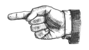 Male Hand Pointer Finger Showing Gesture Vector. Businessman Index Finger Arrow Suggesting Direction Course. Man Forefinger Wrist Gesturing Choice Monochrome stock illustration