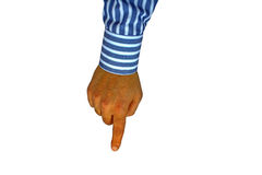 Male hand pointing. Male businessman's hand wearing a striped blue shirt pointing down with his index finger Royalty Free Stock Photos