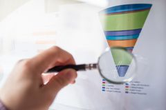 Magnifier on a coloured funnel chart printed on a white sheet of paper during a business meeting. Male hand pointing at a coloured funnel chart printed on a Royalty Free Stock Image