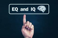 Male hand pointing Eq and Iq word royalty free stock photos